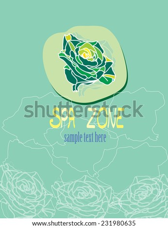 artwork logo Spa ,medical institutions on which delicate rose, beautiful rose - stock vector