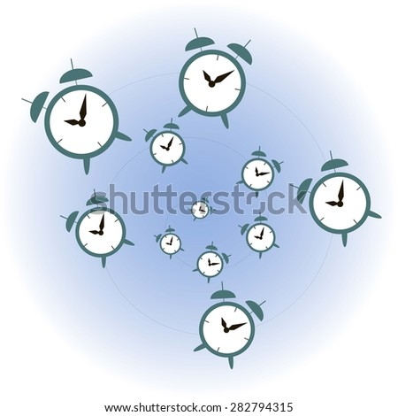 Artwork of clock, concept of endless time, vector illustration