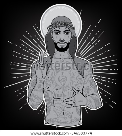 Artwork of unconventional jesus like figure with black or dark skin flash ghetto tattoos and