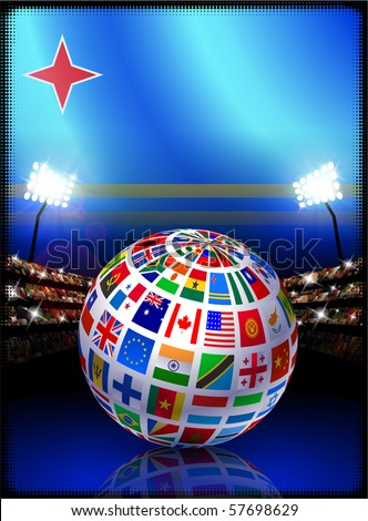 Aruba Flag with Globe on Stadium Background Original Illustration