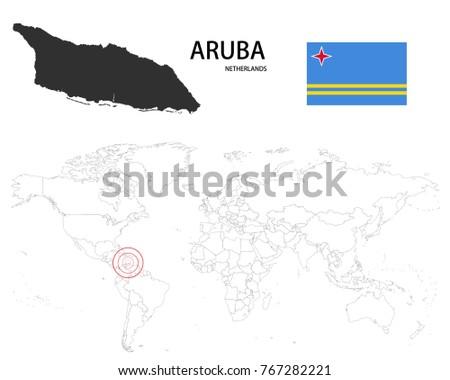 Aruba Netherlands Map On World Map Stock Vector 767282221 - Shutterstock