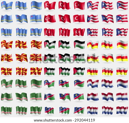 Aruba, Turkey, Puerto Rico, Madagascar, Palestine, North Ossetia, Chechen Republic of Ichkeria, Namibia, Netherlands. Big set of 81 flags. Vector illustration - stock vector