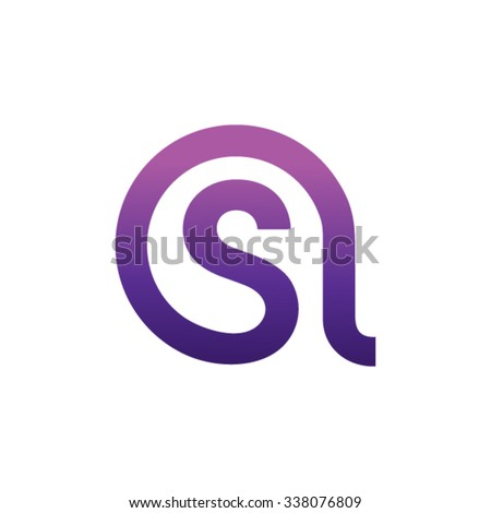 AS letter connection made of organic shapes - stock vector