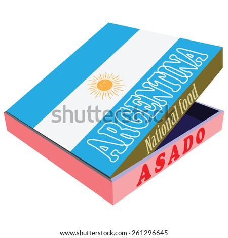 Asado - the national food of Argentina, in a box delivery, with the national flag of the country. Vector illustration.