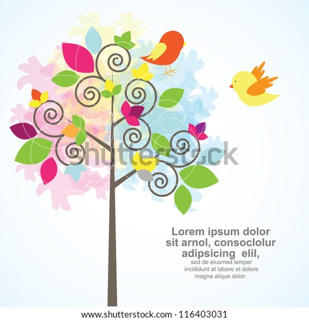 asbtract tree with cute birds