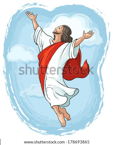 Ascension of Jesus raising hands to God in blue sky between clouds, Easter theme. Also available raster and outlined version - stock vector