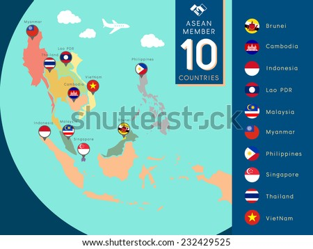 ASEAN,Asean Economic Community world map illustration with country flag - stock vector