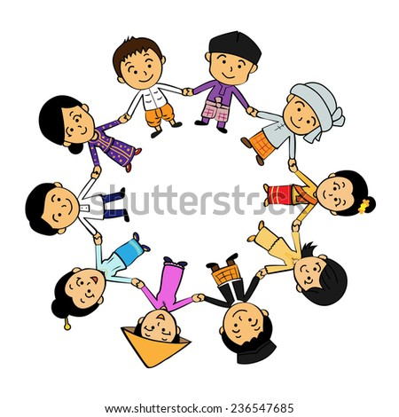 ASEAN boys and girls in traditional costume - stock vector