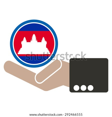 ASEAN Economic Community, AEC in businessman hand with Cambodia, for design present in vector on white background