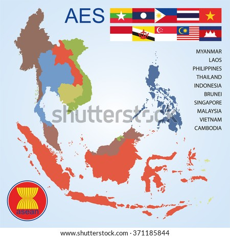 Asean economics community aec map countries vector de stock371185844 asean economics community aec map of countries with flags gumiabroncs Images