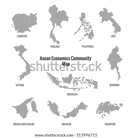 Asean Economics Community dotted map.vector - stock vector