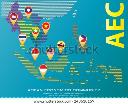Asean Map dotted style illustration, for background (AEC, AFTA, ASEAN), easy to modify - stock vector