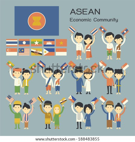 ASEAN people in traditional costume with flag - stock vector