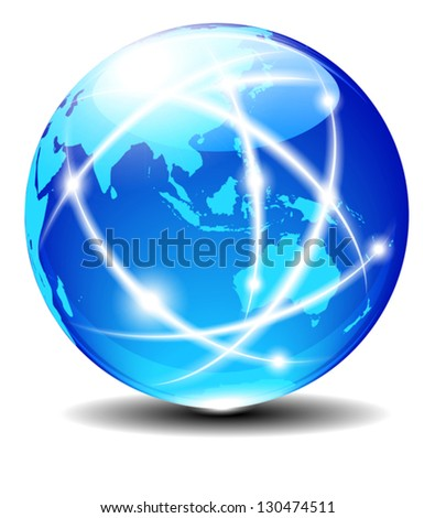 Asia and Australia, Global Communication Planet Data across the world with light lines - Elements of this image furnished by NASA - The map was traced manually using the pen tool for maximum detail - stock vector