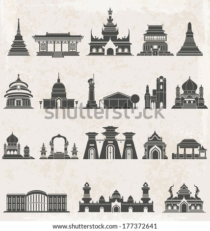 Asia building icons set, Silhouette of the city black and white icons set, Vector illustrate - stock vector