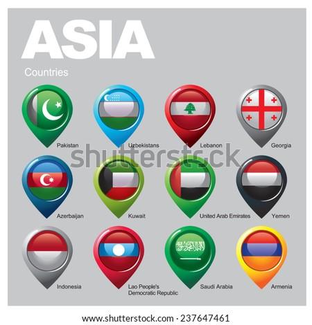 ASIA Countries - Part  Seven - stock vector