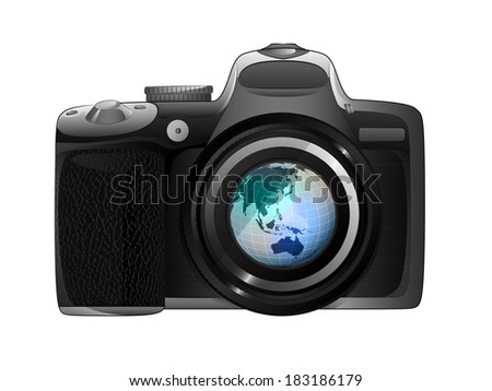 Asia earth globe in camera focus ready to snapshot isolated vector illustration