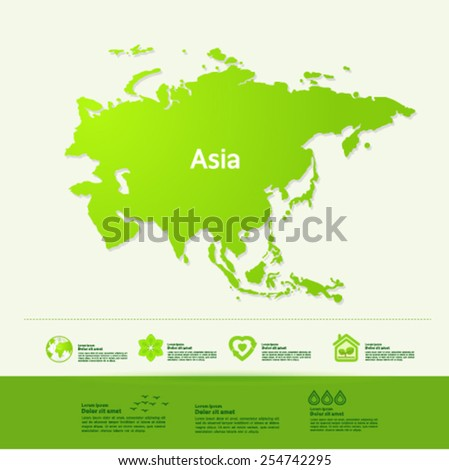 asia ecology World Map vector illustration - stock vector