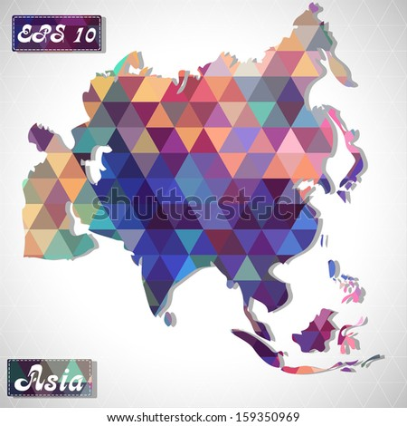 Asia . EPS10 file version. This illustration contains transparency and is layered for easy manipulation and custom coloring. - stock vector