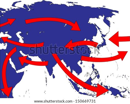 Asia Expansion Market Trade Routes Business Map - stock vector