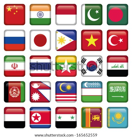 Asia Flags Square Icons - stock vector