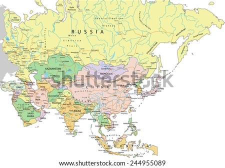 Asia - Highly detailed editable political map with separated layers. - stock vector