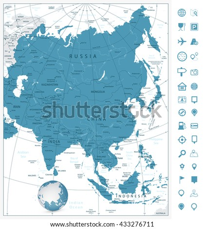 Asia highly detailed map and navigation icons.All elements are separated in editable layers clearly labeled. - stock vector