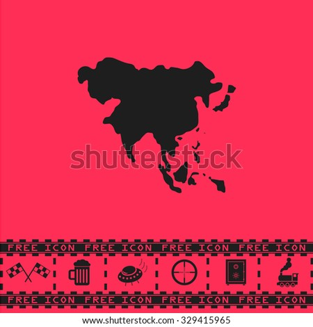 Asia map. Black flat vector icon and bonus symbol - Racing flag, Beer mug, Ufo fly, Sniper sight, Safe, Train on pink background - stock vector