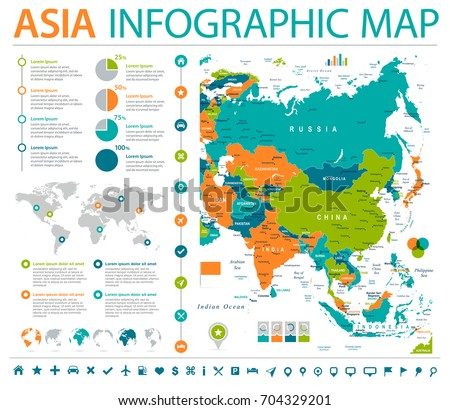 asia map detailed info graphic vector illustration