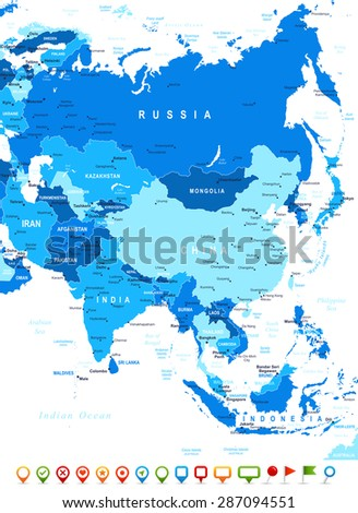 Asia map - highly detailed vector illustration - stock vector