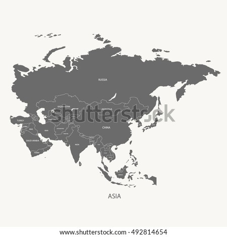 ASIA MAP NAME COUNTRIES Grey Color Stock Vector 492814654 Shutterstock