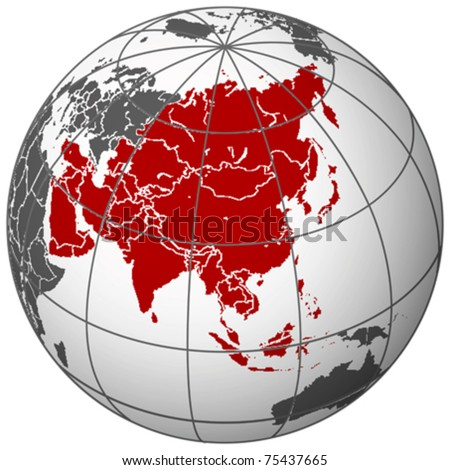 asia on earth, abstract vector art illustration - stock vector