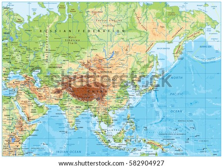 Asia Physical Map Rivers Lakes Elevations Stock Vector 582904927    Shutterstock