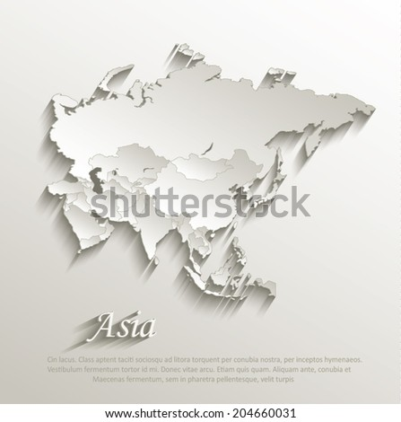 Asia political map card paper 3D natural vector individual states separate - stock vector