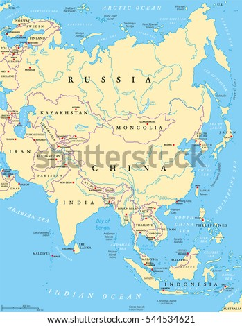 Arctic Region Map Countries Capitals National Stock Vector - Us map with capitals and rivers
