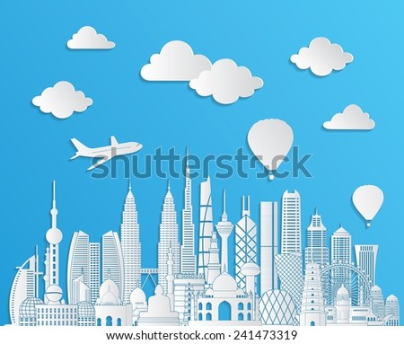 Asia skyline detailed silhouette. Vector illustration - stock vector