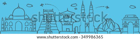 Asia skyline. Travel and tourism background. Vector hand drawn doodle illustration - stock vector