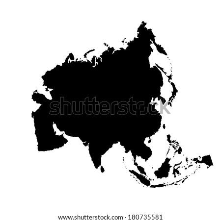 Asia map with countries black and white dresses