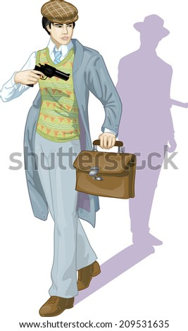 Asian boy with a gun retro styled cartoon character with colored lineart - stock vector