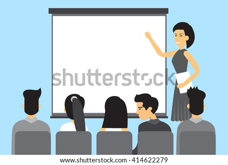 Asian Business People Group Presentation Asia Businesspeople Team Training Conference Meeting Flat Vector Illustration - stock vector