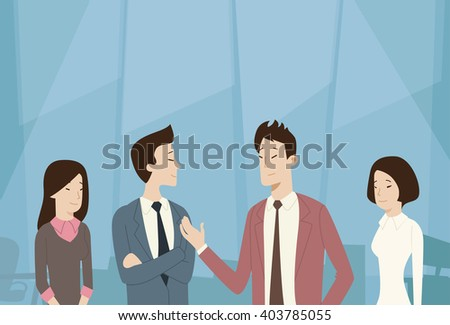 Asian Business People Group Team Talk Communication, Negotiation Flat Vector Illustration