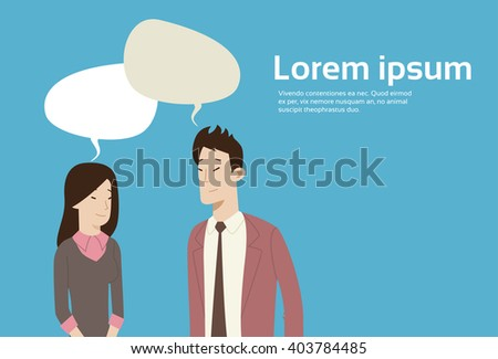 Asian Business People With Chat Bubble Social Network Communication Flat Vector Illustration - stock vector