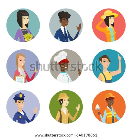 Asian business woman holding money in hands. Young smiling business woman with money. Set of different professions. Set of vector flat design illustrations in the circle isolated on white background.