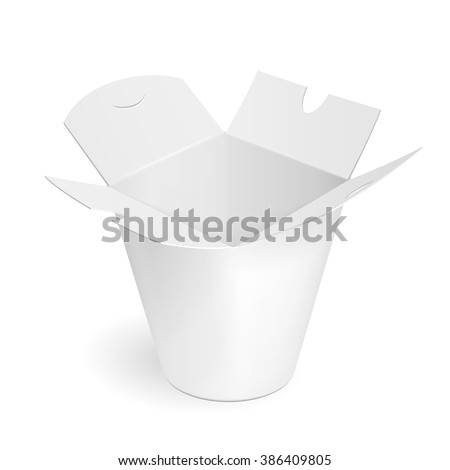 Asian, Chinese, Thai, Korean Cardboard Food Tub Box. Wok, Udon, Rice, Kimchi,  Soba, Crystal, Glass Noodles. Illustration Isolated On White Background. Mock Up Template Ready For Your Design. Vector. - stock vector