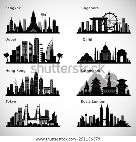 Asian Cities skyline set. Vector silhouettes - stock vector