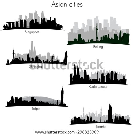 Asian cities skylines - stock vector