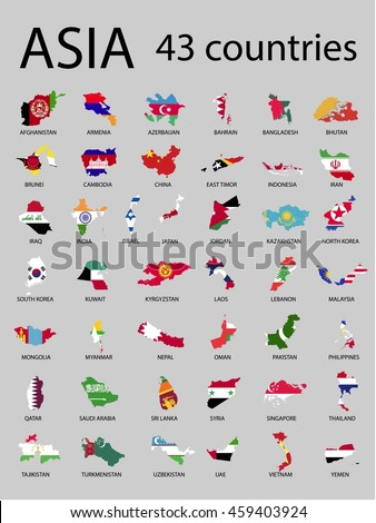 asian countries map and flag vector illustration