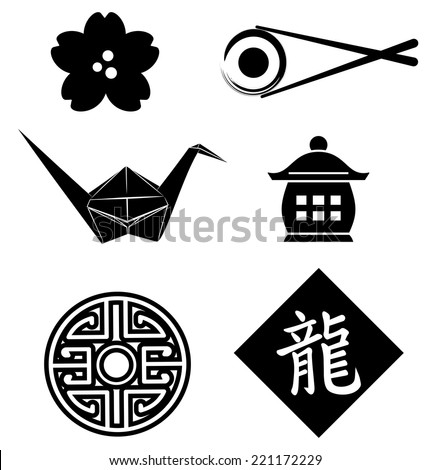 Asian designs element set- Cherry blossom, crane, sushi, Asian symbol and dragon character. EPS10 - stock vector