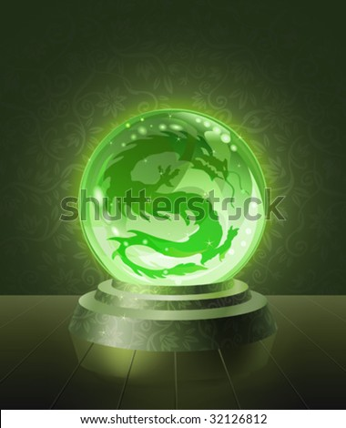 Asian dragon seen inside the crystal scrying ball (vector image)
