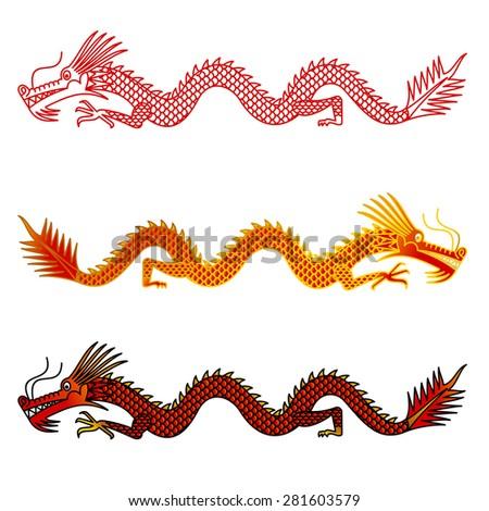 Asian dragons set on white background - stock vector
